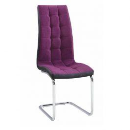 Jídelní židle čalouněná fialová látka v kombinaci ekokůže černá podnož chrom TK3170