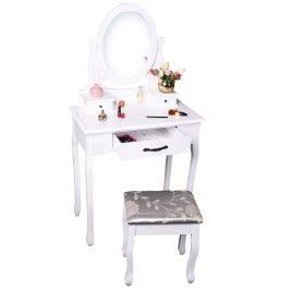Toaletní stolek s taburetem v barvě bílá a stříbrná TK3239 New