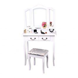 Toaletní stolek s taburetem, bílá/stříbrná, REGINA NEW Toaletní stolky do ložnice