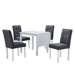 Jídelní set, rozkládací stůl, bílá / šedá, BJORK New 1+4 Jídelní sety