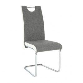 Jídelní židle šedá látka, boky bílá ekokůže na chromových nohách TK2033