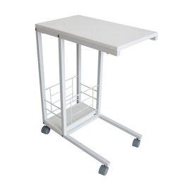Příruční stolek na kolečkách, bílá, CARMEL