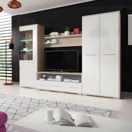 Obývací stěna, dub sonoma / bílá matná, FREDO