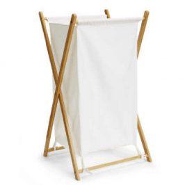 Koš na prádlo, lakovaný bambus/šedá, AVELINO