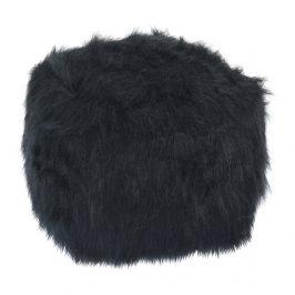 Taburetka, umělá kožešina černá, AZENE Taburety do obýváku