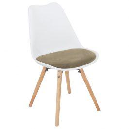 Židle, šedohnědá Taupe sametová látka / bílý plast / buk, Semer New