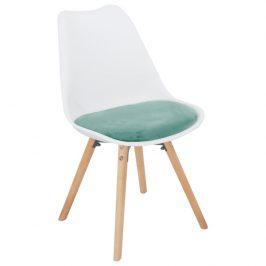 Židle, mentolová sametová látka / bílý plast / buk, Semer New