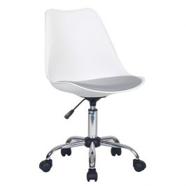 Kancelářská židle, bílá / šedá, DARISA