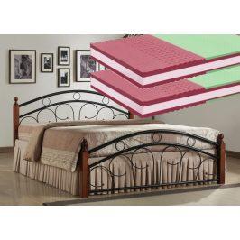 Manželská postel 180x200 cm v dekoru antická třešeň s roštem a matracemi KN440