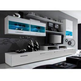 Obývací stěna bílá ve vysokém lesku ve stylovém moderním provedení LEO OS