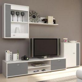 Obývací stěna v krásné šedobílé kombinaci s moderním nádechem TK129
