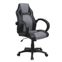 Kancelářské křeslo, ekokůže černá / šedá, LESTER NEW
