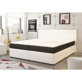 Manželská postel 180x200 cm v bílé a černé barvě s matracemi a úložným prostorem KN730