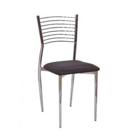Jídelní židle z tmavě hnědé ekokůže a chromového opěradla TK2044