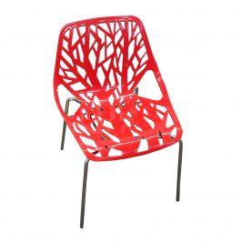 Jídelní židle WOOD červená lesk-VYPRODEJ
