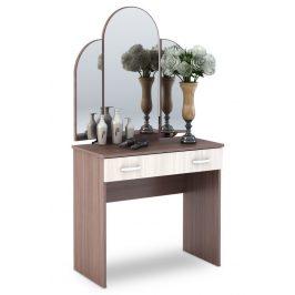 Toaletní stolek se zrcadlem v kombinaci světlý a tmavý jasan šimo KN700 CT-551
