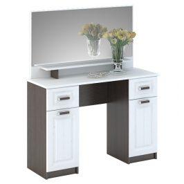 Toaletní stolek v bílé barvě se zrcadlem a korpusem wenge typ CT 900 KN750