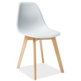 Jídelní plastová židle ve světle šedé barvě s dřevěnou konstrukcí KN900