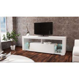 Televizní stolek 140x34 cm s výklopnými dvířky v bílém lesku KN1186