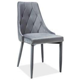Jídelní židle čalouněná sametovou látkou v šedé barvě KN398
