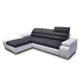 Rozkládací rohová sedačka v tmavě šedé a bílé barvě s úložným prostorem typ levá KN1178