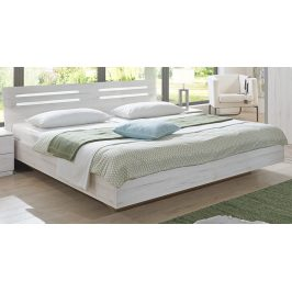 Manželská postel 160x200 cm v dekoru dub bílý s dekorativními lištami typ 351 KN131