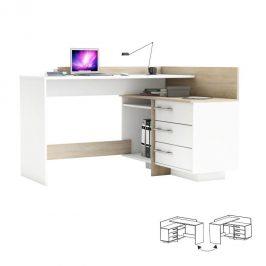 Kancelářský rohový stůl v bílé barvě a prvky v dubu sonoma TK4001