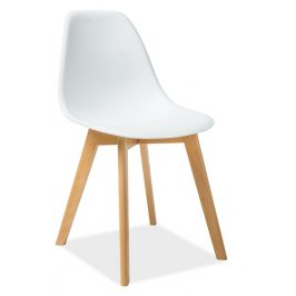 Jídelní plastová židle v bílé barvě s dřevěnou konstrukcí KN900
