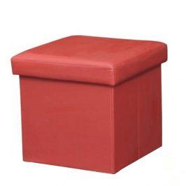 Taburetka skládací s úložným prostorem ekokůže červená TK3226