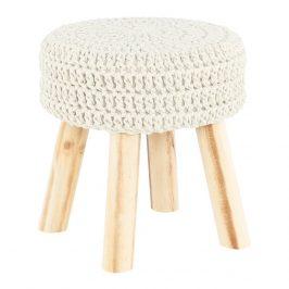 Taburet pletený sedák béžová vlna podnož dřevo TK3229