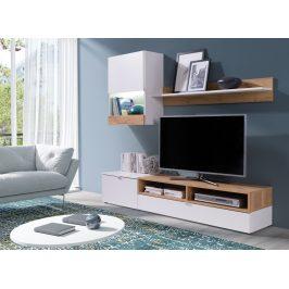 Obývací stěna MINI bílá/jasan