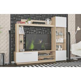 Obývací stěna TRENTO dub sonoma/bílá Obývací stěny