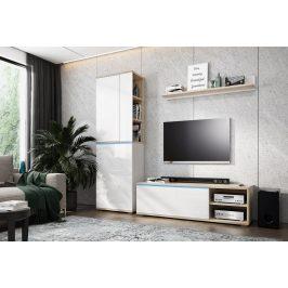 Obývací stěna OTTAWA sonoma/bílá lesk Obývací stěny