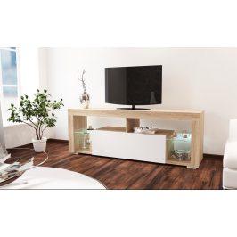 Televizní stolek 140x34 cm s výklopnými dvířky v bílém lesku a korpusem v dekoru dub sonoma KN1186