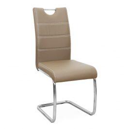 Jídelní židle potažená ekokůží v odstínu cappucino se zdobným prošitím na opěradle a chromovou moderně tvarovanou podstavou TK182