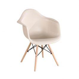 Designové trendy křeslo v kombinaci dřeva buk a plastu capuccino TK190