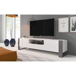 Televizní stolek 180 cm v bílé barvě s nožkami v barvě grafit KN1159