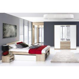 Ložnicová sestava dub sonoma, bílá KN133 (postel 160, skříň)