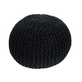 Pletený bavlněný taburet černé barvy TYP 2 TK264