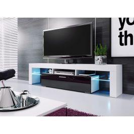 Televizní stolek 190 cm v bílé barvě a ve vysokém černém lesku KN1085