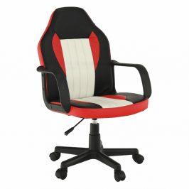 Kancelářské křeslo, černá/červená/béžová, MALIK NEW