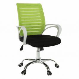 Kancelářské křeslo, zelená / černá / bílá / chrom, OZELA