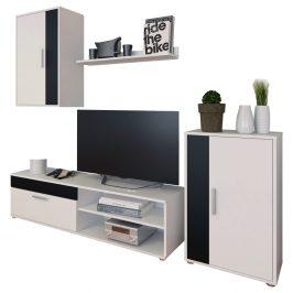 Obývací stěna, bílá/černá, KEVIN