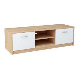 Televizní stolek 120x41 cm v dekoru dub sonoma v kombinaci s bílou barvou typ 027 KN836