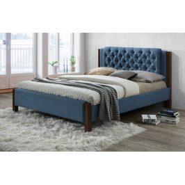 Manželská postel 180x200 cm čalouněná látkou v modrošedé barvě s roštem KN928