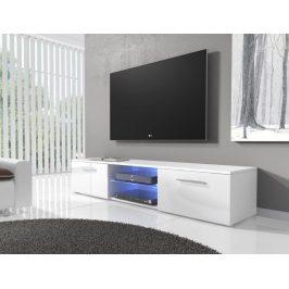 Televizní stolek 150 cm v bílém lesku s bílým matným korpusem typ 03 KN1180