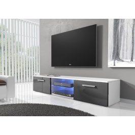 Televizní stolek 150 cm v šedém lesku s bílým matným korpusem typ 03 KN1180