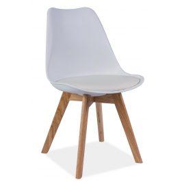 Plastová jídelní židle v bílém provedení s dubovými nožičkami KN361 Židle do kuchyně