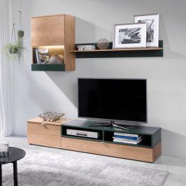 Obývací stěna, dub lefkas/zelená, ROSO