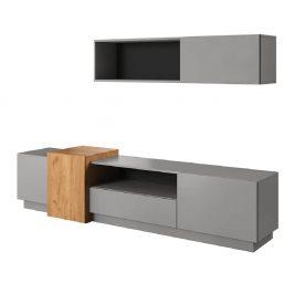 Obývací stěna, šedá/dub craft zlatý, TRIO